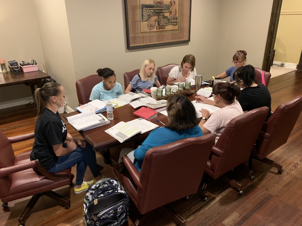 Women at Lighthouse Discussing the Bible